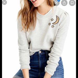 J crew puff sleeve cropped sweatshirt
